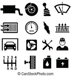 Reparación de coches y iconos mecánicos