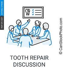 Reparación de dientes dentistas del equipo de discusión ícono lineal
