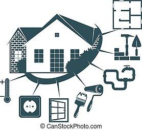 Reparación de un símbolo de vivienda para los negocios