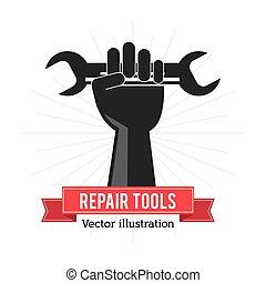 reparación, gráfico, herramienta, mano, vector, llave inglesa, icon., concept.
