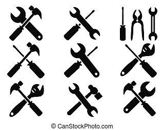 reparación, herramienta, conjunto, iconos