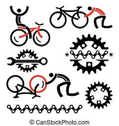 reparación, icons., ciclismo, servicio
