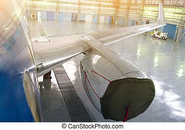 reparación, maintenance., motor avión, servicio, cubierta