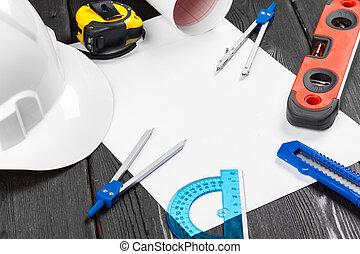 reparación, plano de fondo, variedad, espacio, herramientas, blanco, encima, medio, hardhat, cierre, copia, de madera, arriba