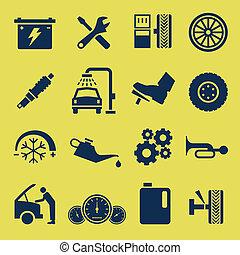 reparación, servicio, coche, símbolo, automóvil, icono