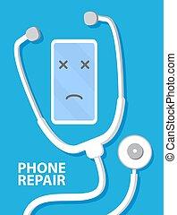 reparación, smartphone.mobile, service., roto, teléfono., tratamiento