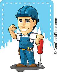reparador, caricatura, técnico, o
