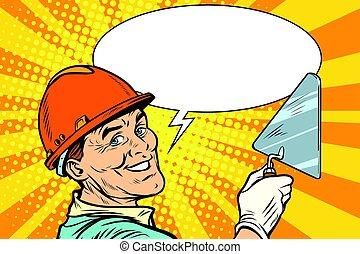 Reparador de constructores con la pala de herramientas