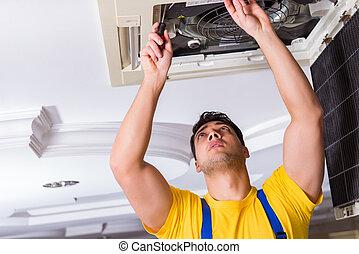Reparador de reparación de aire acondicionado del techo