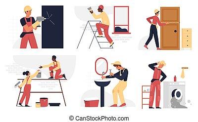 reparador, profesional, seguridad, conjunto, casco, trabajo, trabajando, servicio, reparación, gente, constructor