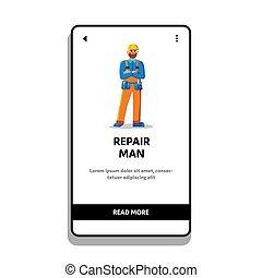 reparar a hombre, mecánico, vector, cinturón, uso, herramientas