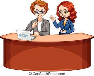 Reportera de noticias masculina y femenina