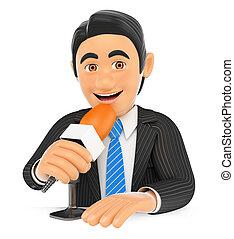 Reportero 3D hablando en un micrófono