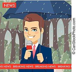 Reportero de noticias del tiempo