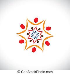 representa, bueno, colorido, gente, común, resumen, paz, colaborar, ilustración, sociedad, gráfico, conectado, juntos., equipo, comunidades, universal, armonía