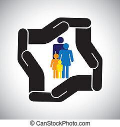 representa, gráfico, niños, familia , accidente, protección, etc, también, concepto, seguridad, padre, vector., madre, seguro médico, o