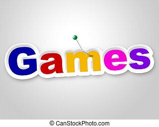 representa, juego, señal, juegos, tiempo, diversión