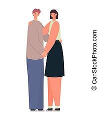 representación, pareja hugging