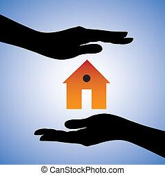 representar, concepto, casa, sistema, hembra, casa seguro, contiene, dos, seguridad, house/home., símbolo., ilustración, protección, manos, gráfico, esto, instalación, lata, seguridad, etcétera, o