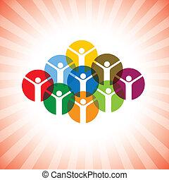 representar, concepto, feliz, gente, graphic., comunidad, juguetón, celebrar, miembros, niños, unidad, también, empleado, excitado, éxito, ilustración, alegre, inspirado, celebrating-, vector, lata, o