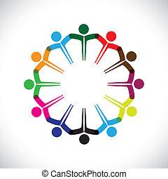 representar, concepto, gente, graphic-, trabajo en equipo, juntos., niños, y, también, unidad, empleado, red, juego, diversidad, ilustración, reunión, manos, niños, esto, iconos, etc, vector, lata, o
