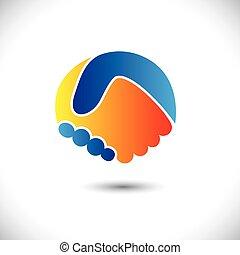 representar, concepto, gente, shake., sociedad, y, -, gestos, también, unidad, nuevo, amistad, ilustración negocio, mano, amigos, icono, gráfico, esto, saludo, confianza, etc, vector, lata, o