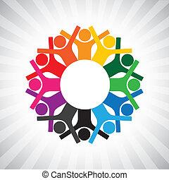 representar, diversidad, simple, graphic., niños, personal, unido, también, tenencia, empleado, círculo, feliz, collaborative, ilustración, reunión, hands-, trabajadores, esto, o, etc, vector, lata, juego, ejecutivos