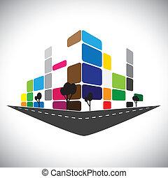 representar, estructuras, oficina, rascacielos, hogar, bancos, mercado, hoteles, apartamento, -, también, urbano, comercial, space., súper, icono, edificio, contornos, gráfico, esto, centros, etc, vector, lata, o