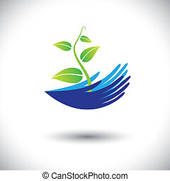representar, planta, concepto, lata, icon(symbol)., planta de semillero, mujer, graphic-, manos, etc, ilustración, conceptos, ambiental, vector, bosque, proteger, plantas, conservación, o, como