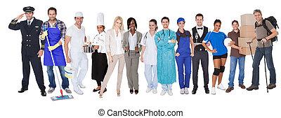 representar, profesiones, diverso, grupo, gente
