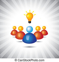 representar, simple, graphic., ejecutivo, director, político, ganando, también, empleado, líder, el suyo, empresa / negocio, exitoso, ilustración, seguidores, ideas-, personal, esto, persona, vector, lata, o