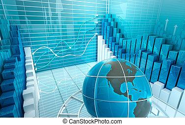 Reproducción abstracta del mercado de valores 3D, fondo de negocios