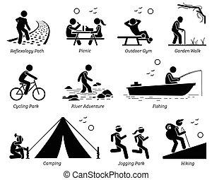 Reproducción al aire libre estilo de vida y actividades recreativas.
