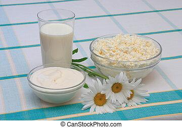requesón, leche, crema agria