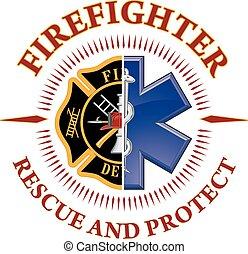 rescate, bombero, proteger