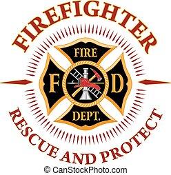 rescate, cruz, bombero, proteger
