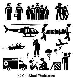 rescate, emergencia, figura, equipo, palo