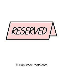 reserved-, inscripción, ilustración, vector, placa