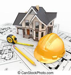 residencial, arquitecto, blueprints., herramientas, casa