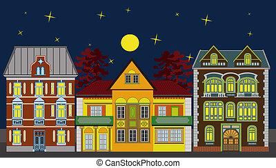 residencial, casas, tres, noche