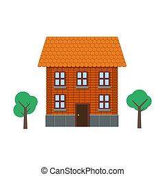 residencial, plano, edificio