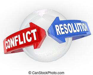resolución, flechas, acuerdo, encontrar, resolución, conflicto, disputa
