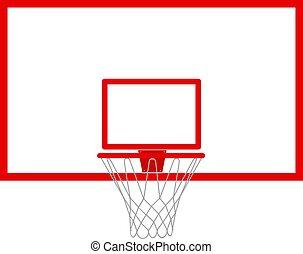 respaldo, baloncesto, vector, isolated., ilustración, aro, backboard.