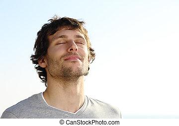 respiración, hombre, al aire libre, atractivo
