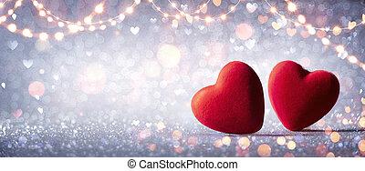 resplandor, defocused, corazones, dos, resumen, plano de fondo, amor, plata