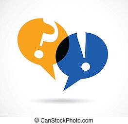 respuesta, discurso, burbujas, signos de interrogación