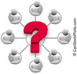 respuesta, pregunta, poniendo común, grupo