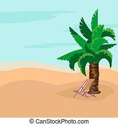 rest., sea., verano, cubierta, debajo, relaxation., árbol., palma, tibio, concepto, day., soleado, sillas
