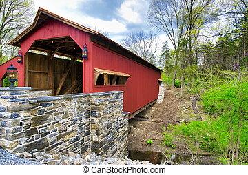 restaurado, puente, cubierto, 1844, día, primavera, viejo