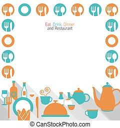 Restaurante de cena y marco de comida